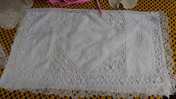 Victorian White Wedding Lingerie Bag French Cotton Lace Hand Embroidered Lingerie Case Nightgown Pajama Bag Collectible #sophieladydeparis