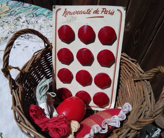 Vintage 12 Large Cherry Red Buttons French Buttons on Card Nouveauté de Paris Unused Sewing Project Collectible #sophieladydeparis