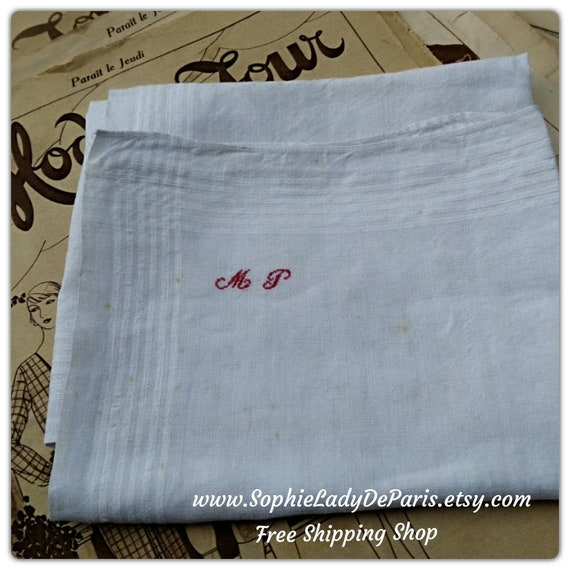 "Large Handkerchief XLarge Victorian White Linen Men's Handkerchief  ""M P"" Red  Monogrammed French Fabric Tissue #sophieladydeparis"