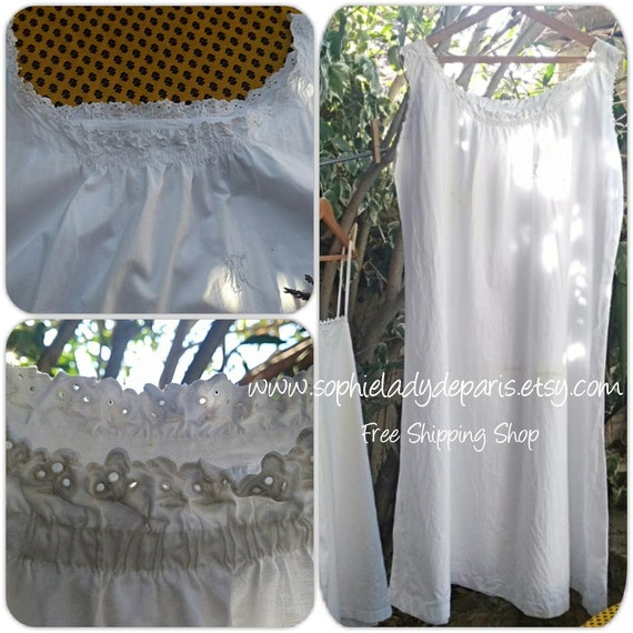 White Nightgown Antique Eyelet Lace Monogram Hand Embroidered XL Size French Dress  #SophieLadyDeParis