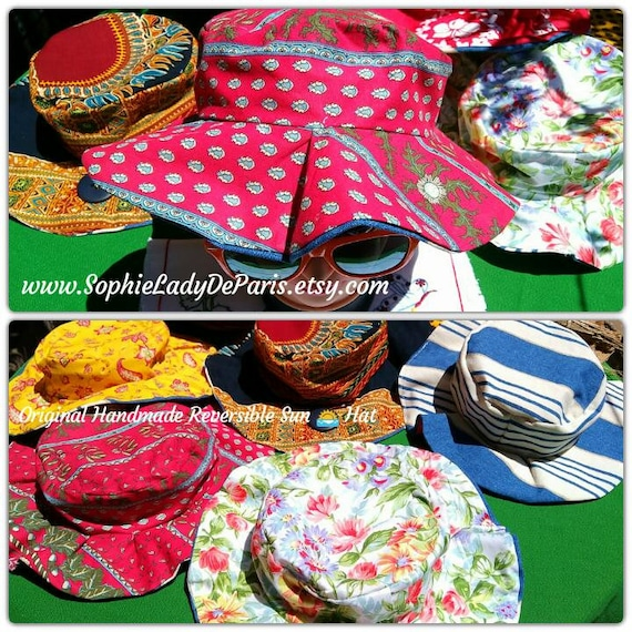 Reversible Sun Hat Red Provence Cotton Fabric Handmade Striped Blue White Canvas Lined #sophieladydeparis