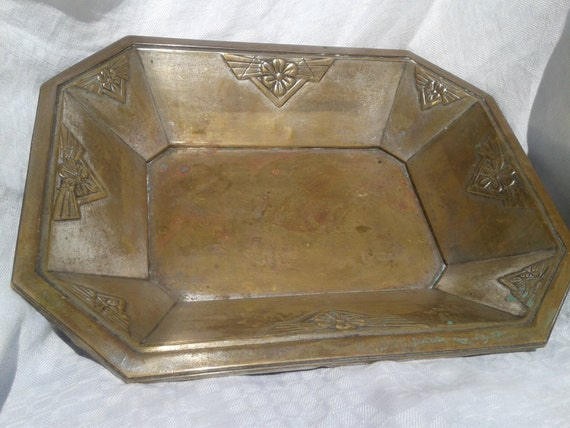 Art Deco 1930's Silver Plated Tray French Dish Geometrical Art Deco Decor #sophieladydeparis