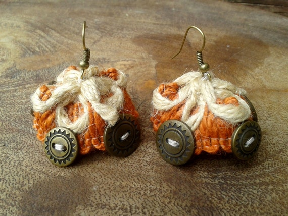 Maya Earrings Orange Ethnic Copper Sun Buttons Beaded  Handmade #SophieLadyDeParis