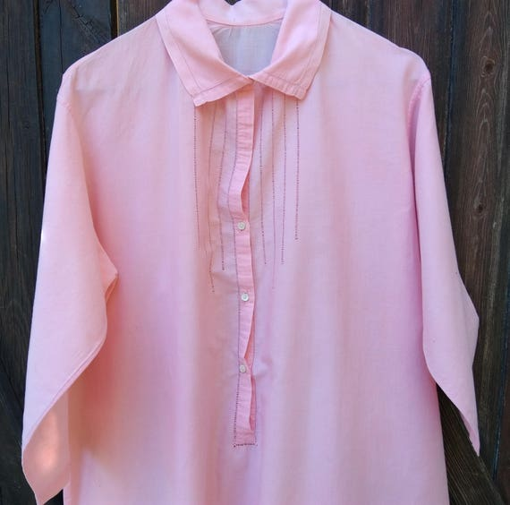 Long Nightgown Antique Pink Cotton Shirt Cut Works Front Buttoned French Made Mid Arm Sleeves L / XLarge #sophieladydeparis