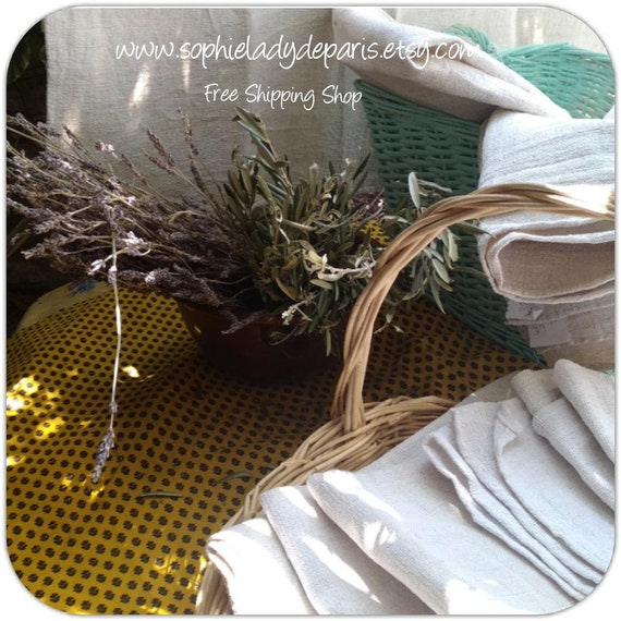 Lighter Rustic White Hemp Towel Large French Woven Hemp Dying Sewing Project Home Decor #sophieladydeparis  #Ref 7