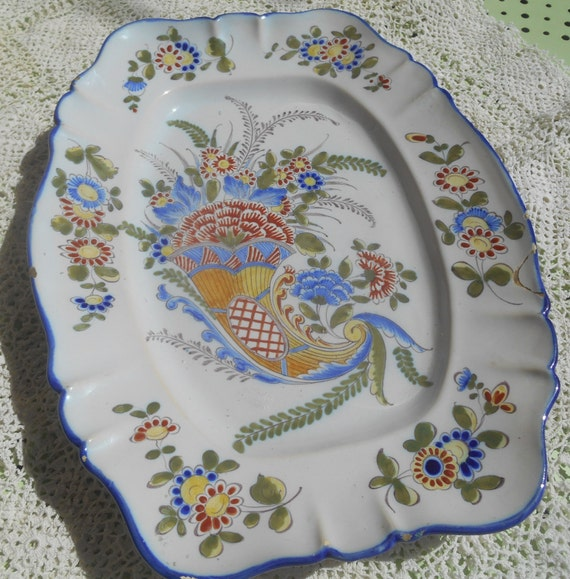 RARE Dish Cornucopia Keller & Guerin Hand Painted Dish 19TH Century French Faience Blue Signed Numbered #sophieladydeparis