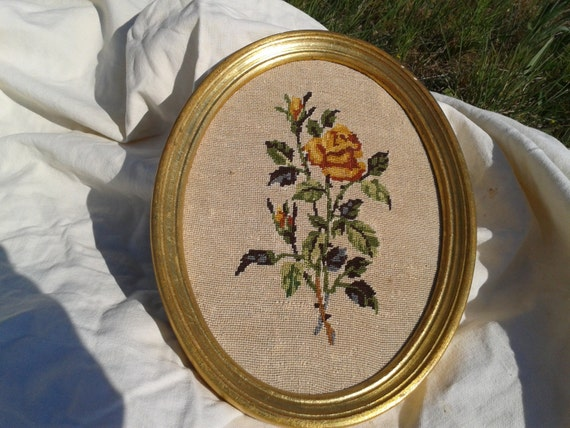Vintage French Rose Petit Point Framed Tapestry Needlepoint Handmade Yellow Roses Floral Bouquet Golden Oval Wood Frame