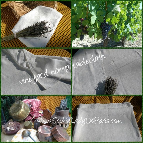 Antique White French Vineyard Tablecloth Hemp and Linen made Damask Checkered #SophieLadyDeParis