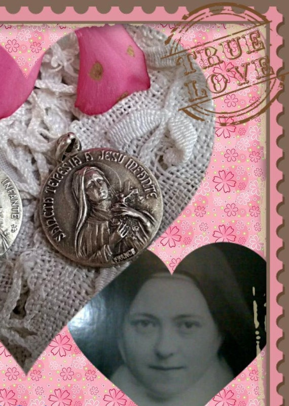 French Medal Saint Terese Medal Antique Latin  Rain of roses from Heaven #sophieladydeparis