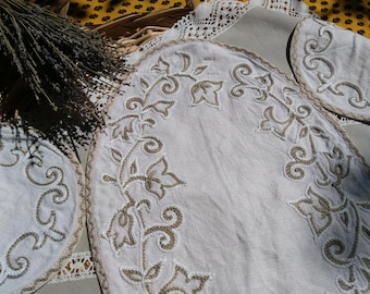 Vintage French White Hemp Doily and Coasters French Handmade Beige Leaves Hand Embroidered Table Center #sophieladydeparis