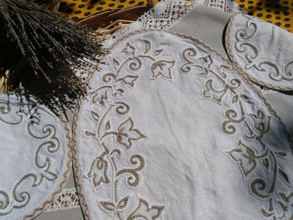 Vintage Doily and Coasters White French Hemp  French Handmade Beige Leaves Hand Embroidered Table Center #sophieladydeparis