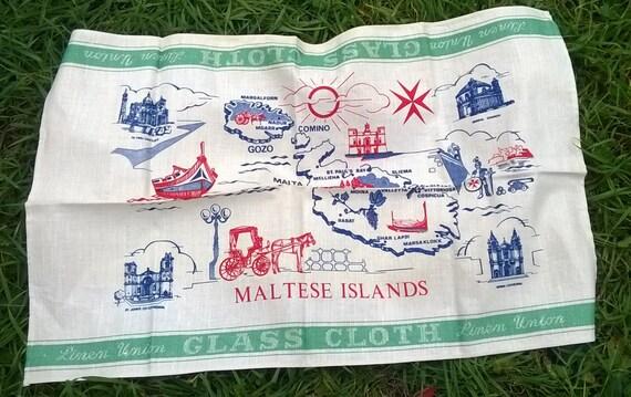Off White Linen Dish Cloth Maltese Islands Linen Union Glass Cloth Vintage Folk Kitchen Towel Unused Maltese Cross #sophieladydeparis