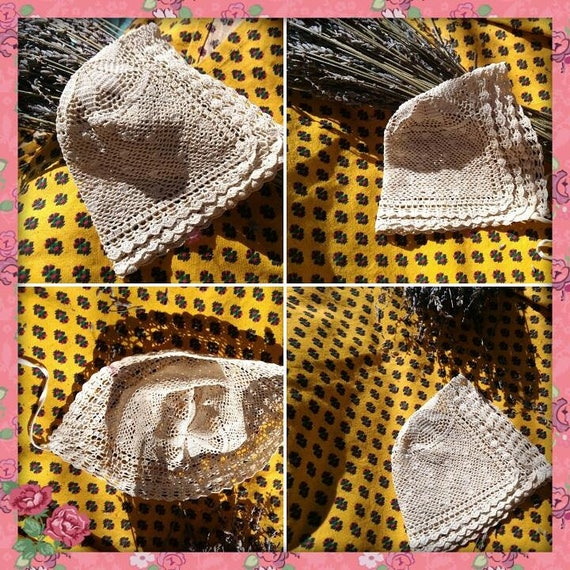 1900's Baby Bonnet Beige Hand Crocheted Hat Antique French Lace New Born or Doll Cotton Hat #sophieladydeparis