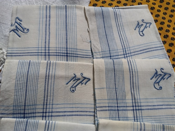 Antique Men's Handkerchief blue and white plaid linen monogram Large Unused French Fabric Tissue Pocket Square #sophieladydeparis