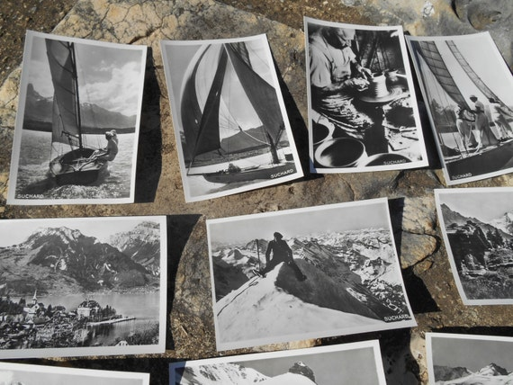 Boat  Photos 1939 Swiss Suchard Chocolate 10 Black White Photos Bromide Serie XXI Berners Sailors Mountains Pottery #sophieladydeparis