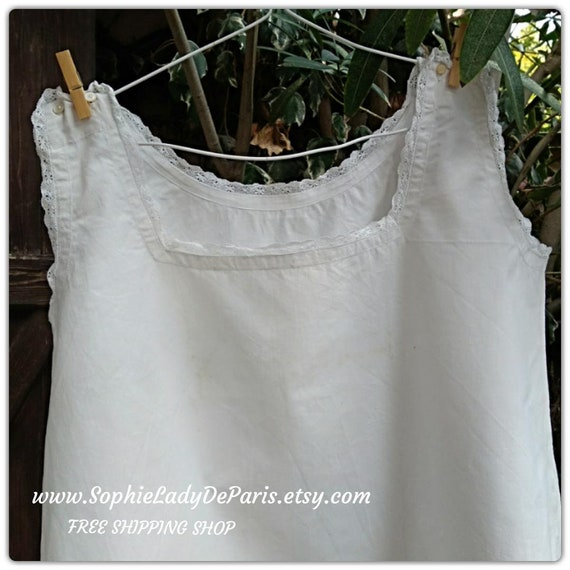 Victorian Metis Linen Dress White French Handmade Nightgown Square neckline Lace Trim Size Large/XL - Ref 3R #sophieladydeparis