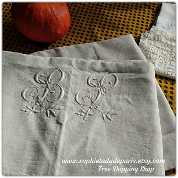 Antique Flat Linen Sheet Off White French Linen Handmade Monogram Front Embroidered 2 pers Bed Sheet #sophieladydeparis