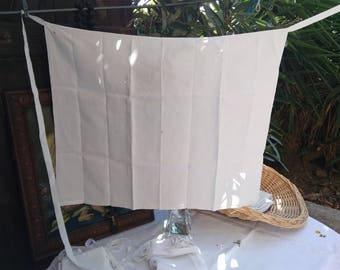 Antique French Amice Priest Linen Apron Nun Handmade White Clergy Cloth Red Crucifix Monogram Hand Embroidered 3 #sophieladydeparis