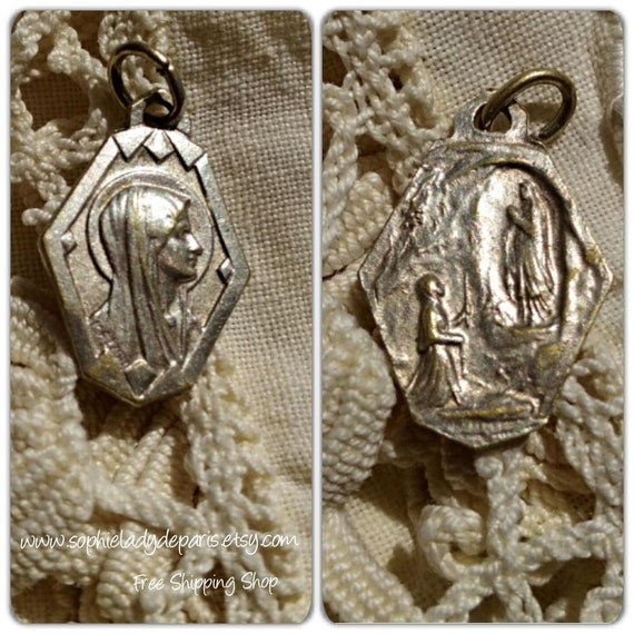 Art Deco Our Lady French Medal Antique Virgin Mary Medal of Lourdes 1930's Silver Religious Medal #sophieladydeparis