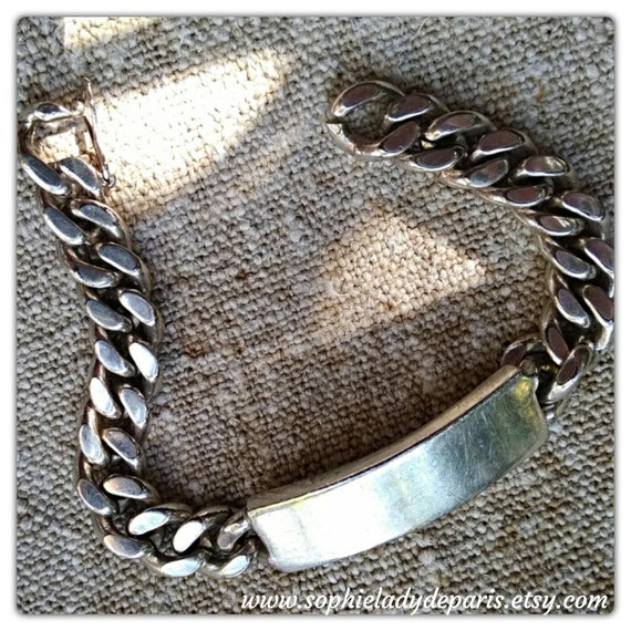 Sterling Silver Name Bar Bracelet Vintage French Curb Chain Blank ID Bracelet  #sophieladydeparis