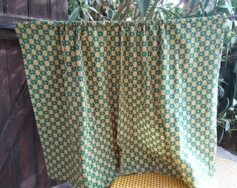 Green Diamond Provence Fabric Curtain Vintage Home Decor French Cotton Valance Sewing Project #sophieladydeparis