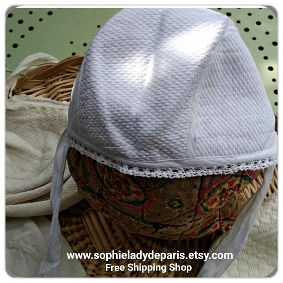 Antique White Baby Bonnet Lace Trim French Waffle Cotton Kid's Hat Large Doll Bonnet #sophieladydeparis