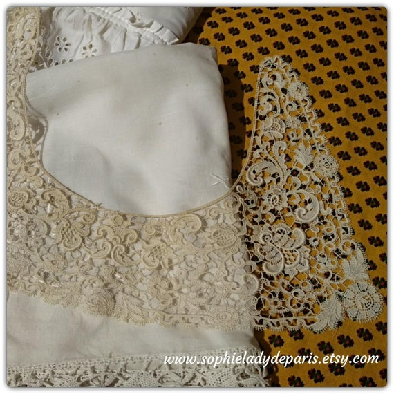 1900's Collar Beige French Guipure Lace Collar Detachable Floral Cotton Lace Bridal Collar Sewing Project #sophieladydeparis