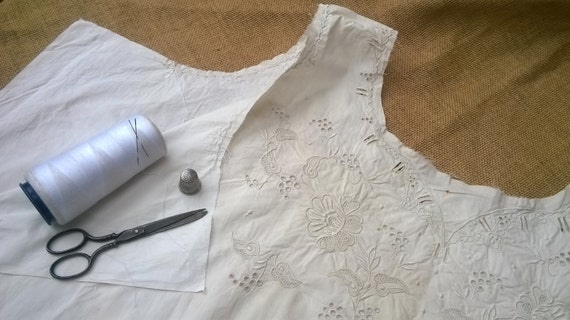 Victorian Embroidered Dress Unfinished White Cotton Collectible Clothing Costume Museum Antique Fashion Process #1 #sophieladydeparis