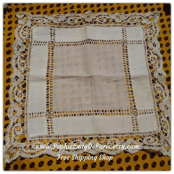 Antique Handkerchief Lace Trim French Lacy Bride Tissue Handmade White Cotton #sophieladydeparis