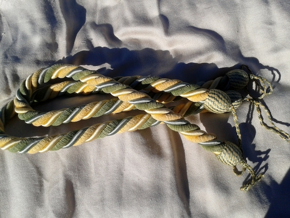 Pair of French Tie Back Gold Twisted Loop Cord Green Yellow #sophieladydeparis