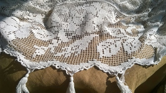 Antique Net Bedspread Hand Crocheted Large Victorian White French Filet Cotton Lace Panel Tassel Trimmed #sophieladydeparis