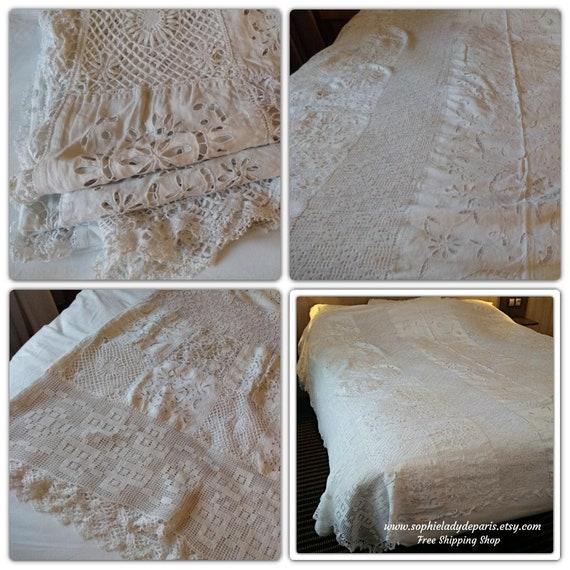 RARE Antique White Bedspread White French Lace and Linen Cover Handmade Hand Embroidered  #sophieladydeparis