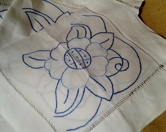3 French Linen Placemats Handmade Unused White Hand Embroidered Blue Flowers on Linen Large Placemats #sophieladydeparis