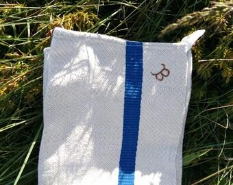 Antique French  Dish Cloth Unused Beige Chevron Damask Blue Line Rustic Country Side Folk Kitchen Towel Monogrammed #sophieladydeparis