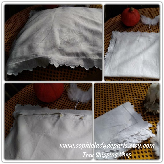 White Pillow Case Antique French Linen Pillow Cover Handmade  #sophieladydeparis