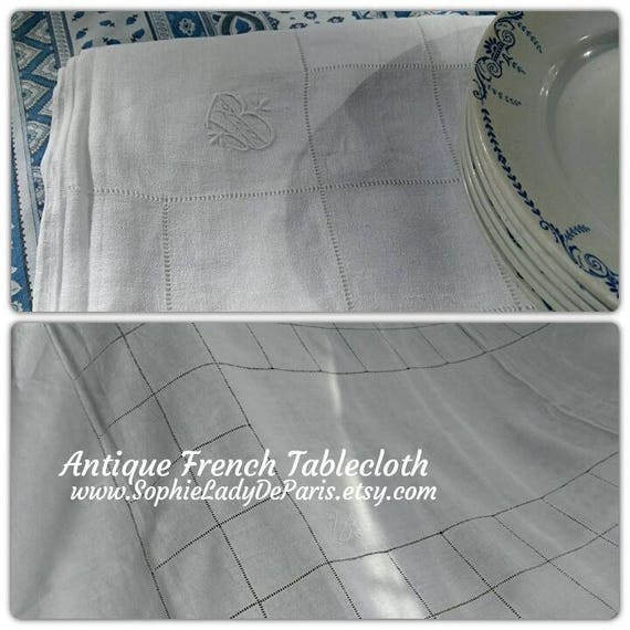 "Long Tablecloth White Antique French Crepe Linen Monogram Hand Embroidered 94"" #sophieladydeparis"