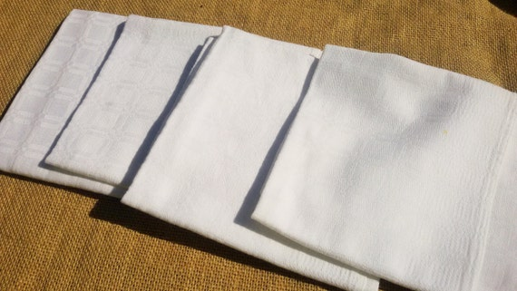 4 White Damask Napkins Antique French Handmade Napkins Cotton Made #sophieladydeparis