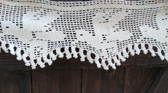 Victorian Bird Shelf Edging Home Decor Bird Lace Beige French Cotton Hand Crochet Small Café Curtain Shelf Edging Lace #sophieladydeparis
