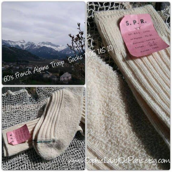 Men's high boot socks long French Alpine troop socks NOS Vintage 60's Tagged Wool knit socks Winter socks size 10 #sophieladydeparis