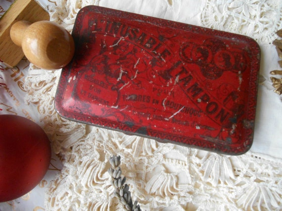 Inking Pad Art Nouveau 1900's French Purple Ink Angel Red Tin Box l'Inusable Tampon #sophieladydeparis
