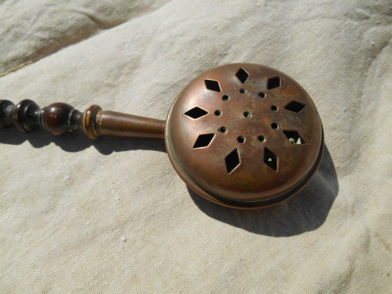 Victorian Miniature Copper Bed Warmer 19th French Villedieu Stamped Artist signed Country Side Home Decor Incense Burner #sophieladydeparis