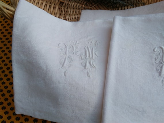 Antique White Damask Napkins Large Set of 3 Linen French Handmade Double Monogram #SophieLadyDeParis