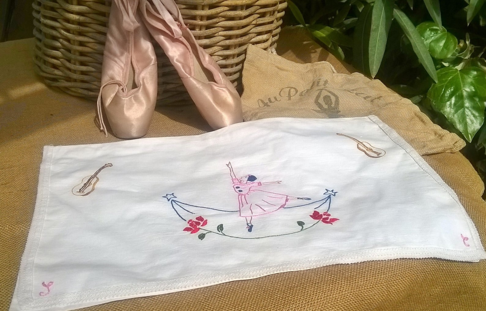 vintage white lingerie bag french cotton ballet dancer embroidered lingerie case nightgown pajama bag #sophieladydeparis