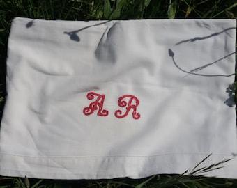 Victorian Flat Sheet Red Monogram French Handmade White Cotton 1 Pers bedding #sophieladydeparis