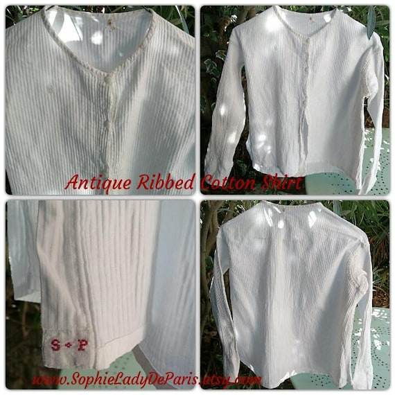 Victorian Shirt White French Ribbed Cotton Long Sleeves Blouse Red Initials Medium Large Collectible Movie Costume #sophieladydeparis