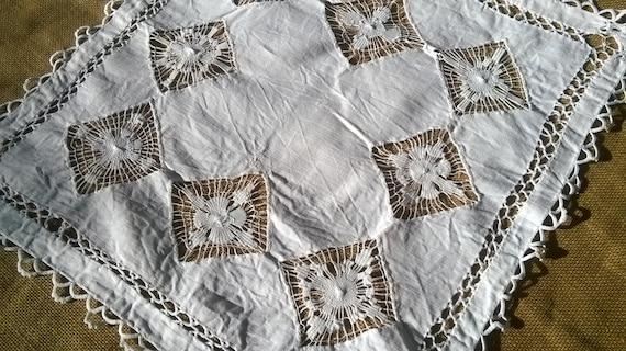 White Victorian Linen Doily Large French Handmade Cut work Table Center #sophieladydeparis