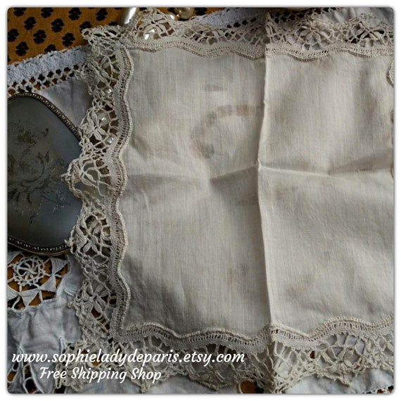 Silk Handkerchief French Tissue Bride Handkerchief Handmade Off White Silk Bobbin Lace Trim #sophieladydeparis