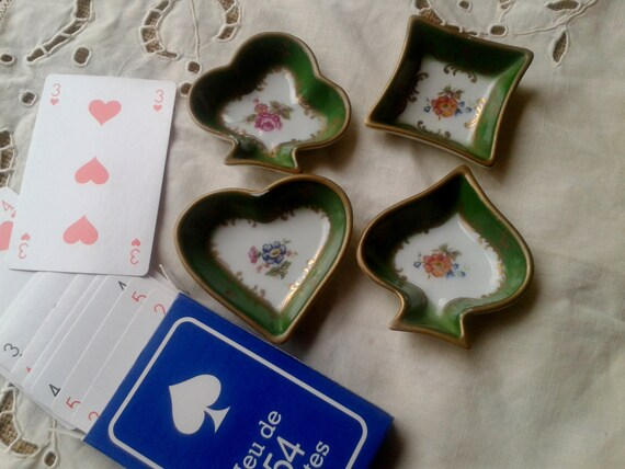 Porcelain Card Suit French Pin Trays Cups Spade Heart Diamond  Club Green Color Floral Gold Trim 60's Couleuvre #sophieladydeparis