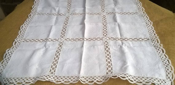 White French Crepe Tea Tablecloth Lace Inlay Cotton Handmade #sophieladydeparis