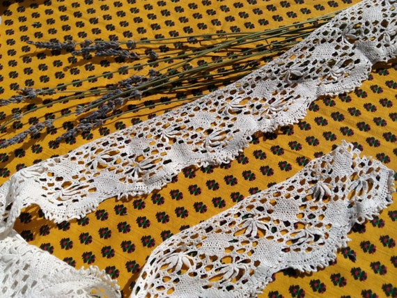3 yards + Lace Victorian Home Decor Crocheted Lace Long White Cotton French Shelf Edging Home Decor Lace #sophieladydeparis